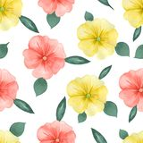 Watercolor floral pattern on white seamless background. Hand painted. Perfect for fabric, wrap paper or wallpaper. Raster royalty free illustration