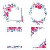 Watercolor floral pink frame background stock illustration
