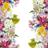 Watercolor floral seamless border Royalty Free Stock Images
