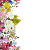 Watercolor floral seamless border Stock Photo