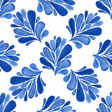 Watercolor floral seamless pattern with blue leaves. Vector background for textile, wallpaper , wrapping Stock Images