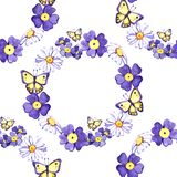 Watercolor floral seamless pattern with daisies, wildflowers, summer print.  vector illustration