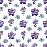Watercolor floral seamless pattern with flowers and leafs. Stock Photo
