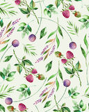 Watercolor floral seamless pattern with flowers,raspberry,branches and foliage. Handpainted illustration. Can be used for texture,greeting card,wallpaper Stock Image