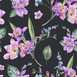 Watercolor Floral Seamless Pattern of Freesia and Garden Flowers stock illustration