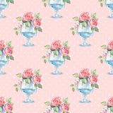 Watercolor floral seamless pattern. Glass vase with roses. Watercolor floral seamless pattern. Polka dot background Royalty Free Stock Photo