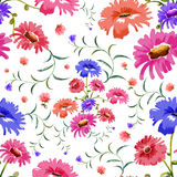 Watercolor Floral Seamless Pattern Stock Images