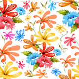 Watercolor Floral Seamless Pattern Stock Image
