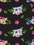 Watercolor floral seamless pattern with multicolored flowers,leaves,berries on black background. Stock Photo