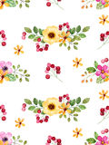 Watercolor floral seamless pattern with multicolored flowers,leaves,berries Royalty Free Stock Photo