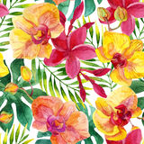 Watercolor floral seamless pattern Stock Photo