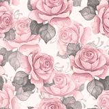 Watercolor floral seamless pattern. Pink roses 5. Hand drawn watercolor floral seamless pattern. Vintage flowers Stock Photo