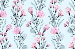 Free Watercolor Floral Seamless Pattern. Small Pink Roses And Crocus Flowers On Turquoise Background. Abstract Hand Drawn Royalty Free Stock Photography - 181091757