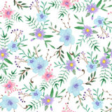 Watercolor floral seamless pattern stock illustration