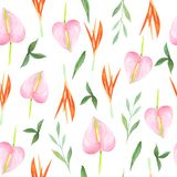 Watercolor floral seamless pattern. Tropical flowers. stock illustration