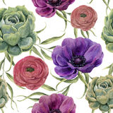 Watercolor floral seamless pattern. Watercolor illustration with eucalyptus leaves, anemone flowers, ranunculus and succulent isol Stock Photos