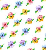 Watercolor floral seamless pattern, wildflowers, pansies, purple, blue, red and pink flowers. A bright summer botanical print. vector illustration