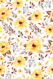Watercolor floral seamless pattern with yellow flowers and leafs Royalty Free Stock Photo