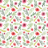 Watercolor Floral Seamless Texture with Wild Flowers and Foliage Royalty Free Stock Images