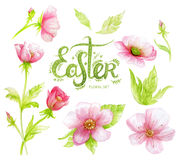 Watercolor floral set with pink flowers and hand drawing letters (word Easter) Royalty Free Stock Images