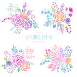 Watercolor floral set. Vintage watercolor floral set. Vector illustration Stock Photography