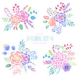 Watercolor floral set. Vintage watercolor floral set. Vector illustration Stock Photo