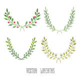 Watercolor floral set of wreaths. Watercolor  floral set of wreaths and laurels Stock Image