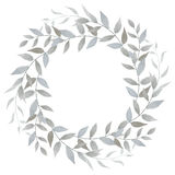 Watercolor floral silver wreath. Hand drawn watercolor floral wreath isolated on white background