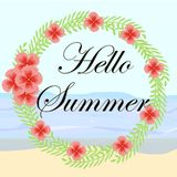 Watercolor floral stylish summer round vector banner. Royalty Free Stock Photo