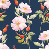 Watercolor floral summer vector pattern Royalty Free Stock Photo