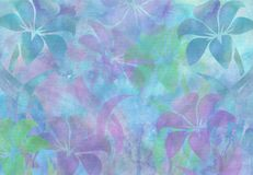 Watercolor Floral Tapestry Background. Purple blue green violet flowers pastel fabric royalty free illustration