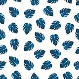 Watercolor floral texture. Seamless botanical pattern with monstera leaves in blue color with splashes isolated on white. Background. Tropical leaf for stock illustration