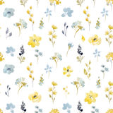 Watercolor floral vector seamless pattern. Beautiful watercolor floral vector seamless pattern with abstract autumn flowers Stock Photo