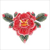 Watercolor floral vignette Stock Image