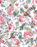 Watercolor floral vintage seamless pattern with. Roses birds and feathers , watercolor illustration Stock Photos