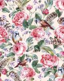 Watercolor floral vintage seamless pattern with. Roses birds and feathers , watercolor illustration Royalty Free Stock Images
