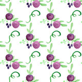 Watercolor floral violet berry handdrawn vector Royalty Free Stock Photography