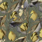 Watercolor floral wallpaper seamless pattern royalty free illustration