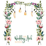 Watercolor floral wedding arch with hanging lamps for bridal design. Wedding and invitation cards, hand painted isolated on a white background Royalty Free Stock Photography