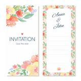 Watercolor floral wedding invitation card template Royalty Free Stock Photos