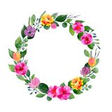 Watercolor floral wreath. Background with frame of fresh spring foliage, bright flowers and place for text Stock Photos