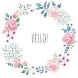 Watercolor floral wreath stock illustration