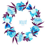Watercolor floral wreath Stock Image