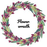 Watercolor floral wreath of carnation royalty free illustration