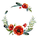 Watercolor floral wreath. Fashion boho style (shabby chic, hippie). Watercolor poppies and feathers round frame vector illustration