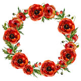 Watercolor floral wreath Stock Photography