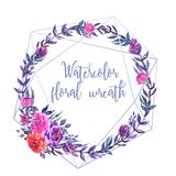 Watercolor floral wreath, geometric line royalty free illustration