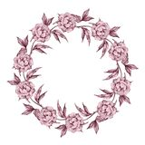 Watercolor floral wreath. Hand drawn element for design. Round f. Rame Stock Photos