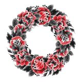 Watercolor floral wreath Stock Photo