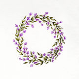 Watercolor floral wreath with lavender, green leaves and branches. Used for wedding invitation, greeting cards Royalty Free Stock Image